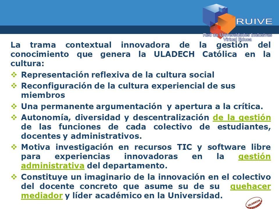 La trama contextual innovadora de la gestión del conocimiento que genera la ULADECH Católica en la cultura: Representación reflexiva de la cultura soc