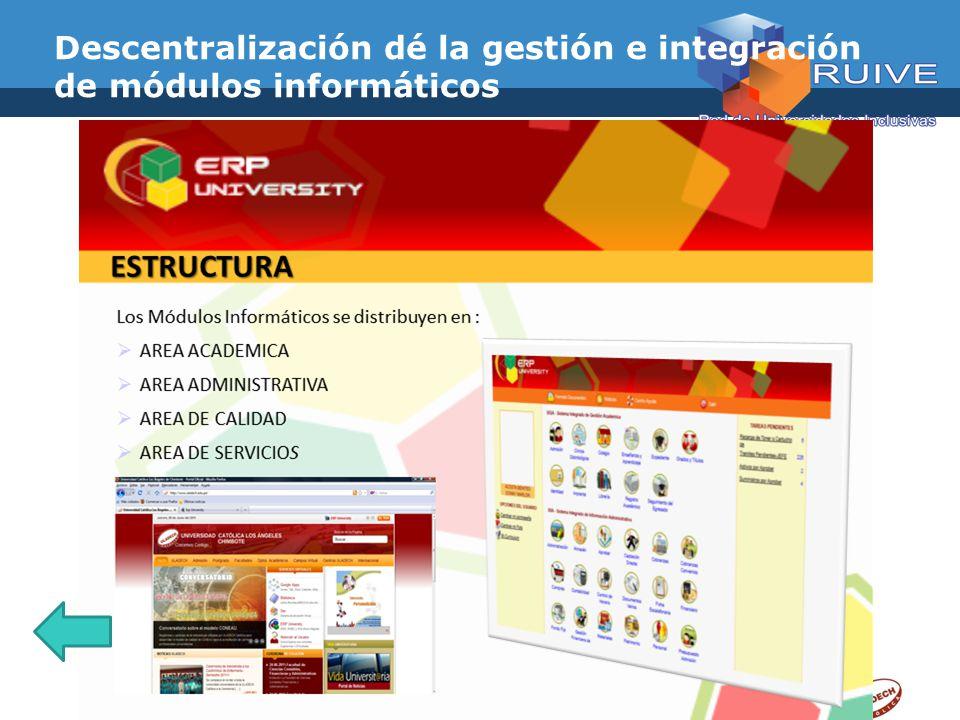 Descentralización dé la gestión e integración de módulos informáticos