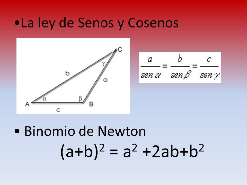 La ley de Senos y Cosenos Binomio de Newton (a+b) 2 = a 2 +2ab+b 2