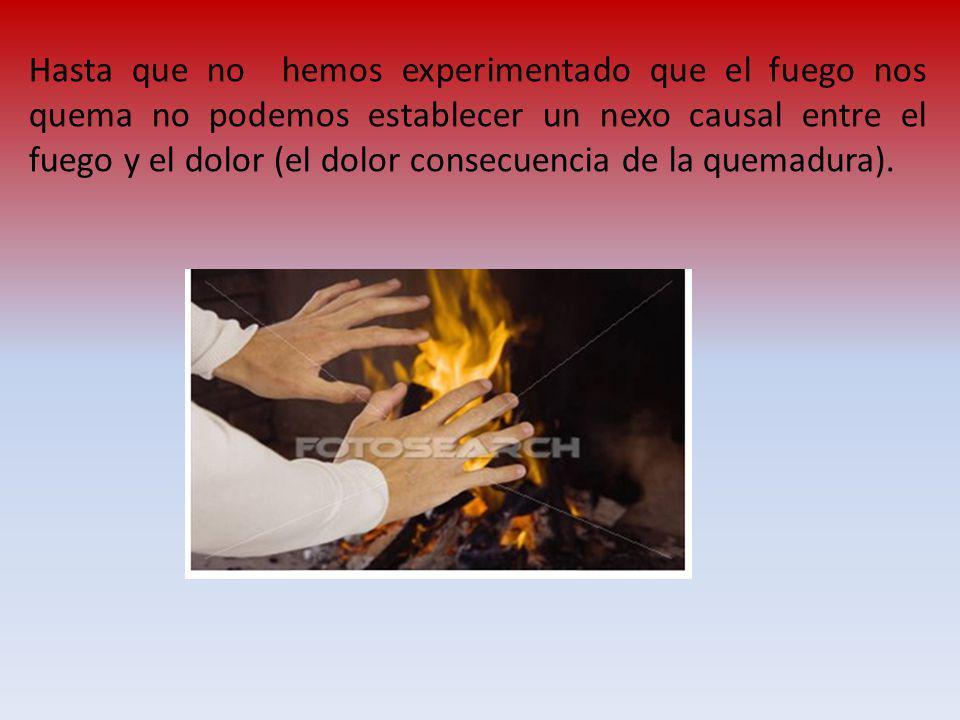 Hasta que no hemos experimentado que el fuego nos quema no podemos establecer un nexo causal entre el fuego y el dolor (el dolor consecuencia de la qu