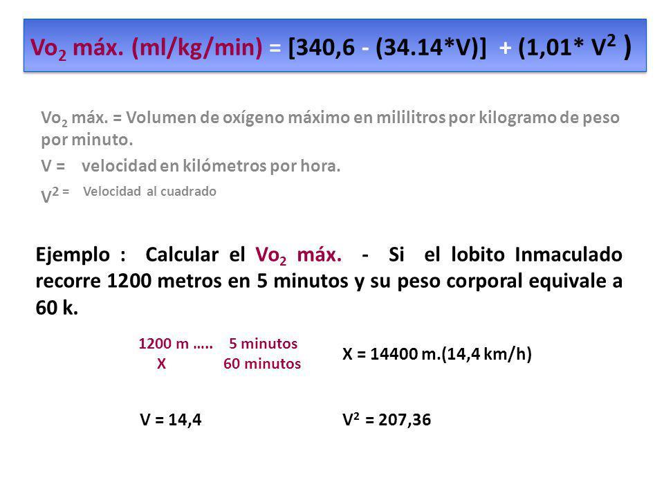 Vo 2 máx. (ml/kg/min) = [340,6 - (34.14*V)] + (1,01* V 2 ) Vo 2 máx. = Volumen de oxígeno máximo en mililitros por kilogramo de peso por minuto. V = v