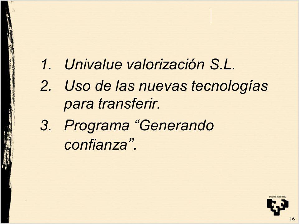 1.Univalue valorización S.L. 2.Uso de las nuevas tecnologías para transferir.