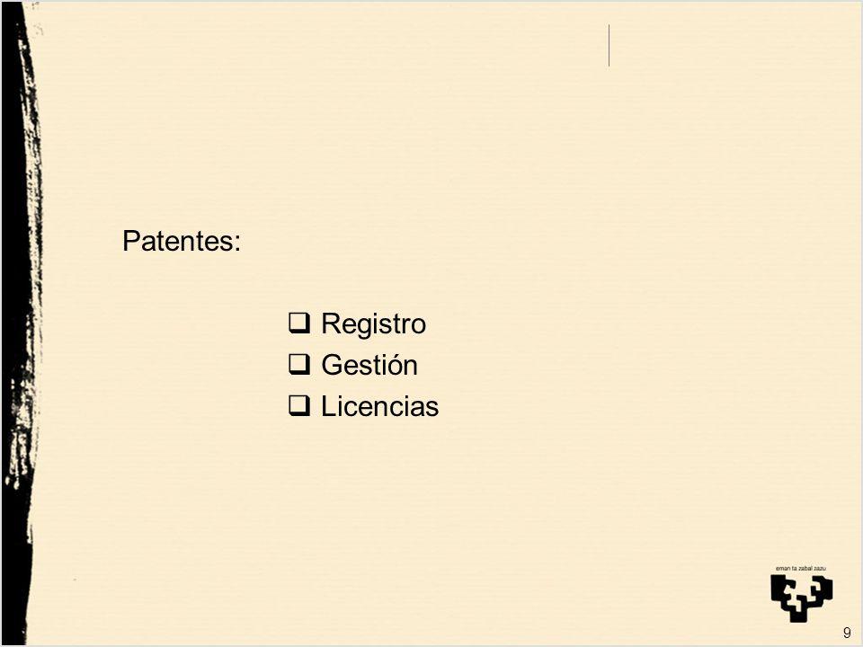 Requisitos: Conocimiento Recursos Técnicos OTRI dotada de personal activo comercialmente. 20