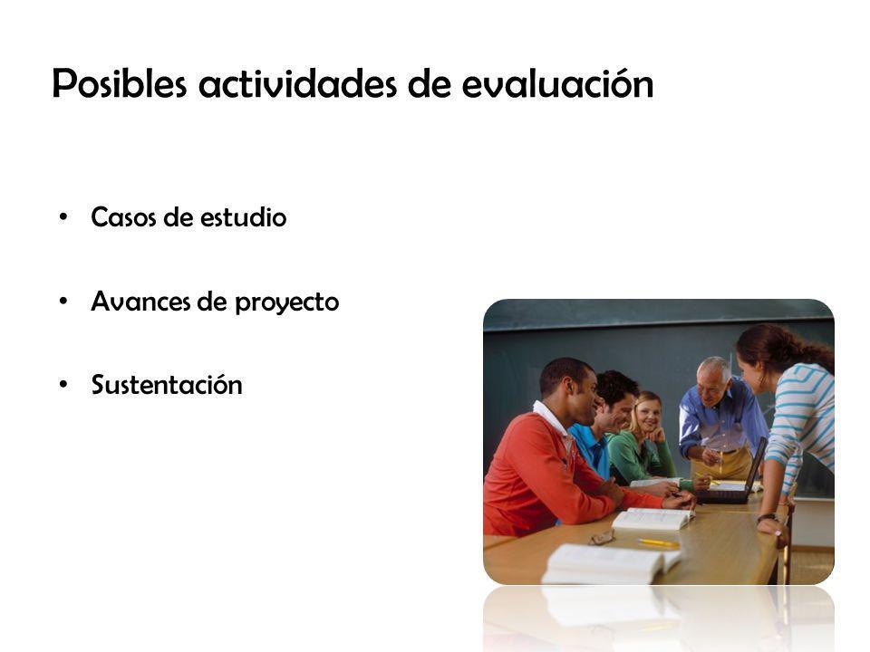 Casos de estudio Avances de proyecto Sustentación Posibles actividades de evaluación