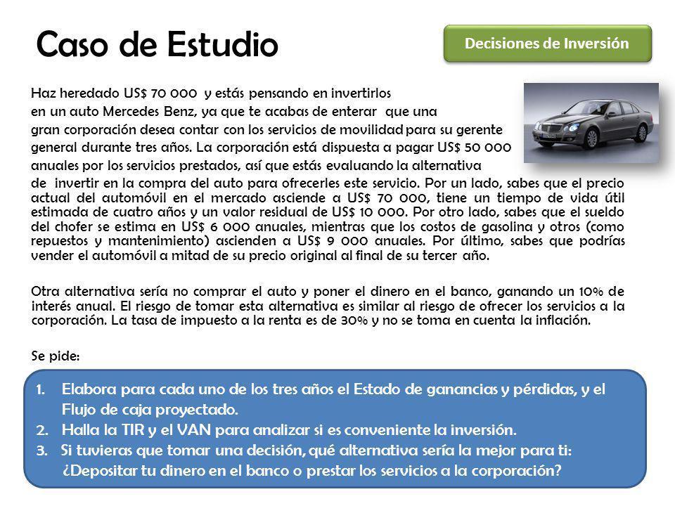 Caso de Estudio Haz heredado US$ 70 000 y estás pensando en invertirlos en un auto Mercedes Benz, ya que te acabas de enterar que una gran corporación desea contar con los servicios de movilidad para su gerente general durante tres años.