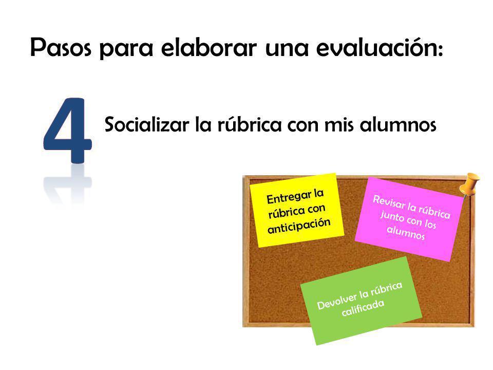 Pasos para elaborar una evaluación: Socializar la rúbrica con mis alumnos Revisar la rúbrica junto con los alumnos Entregar la rúbrica con anticipación Devolver la rúbrica calificada