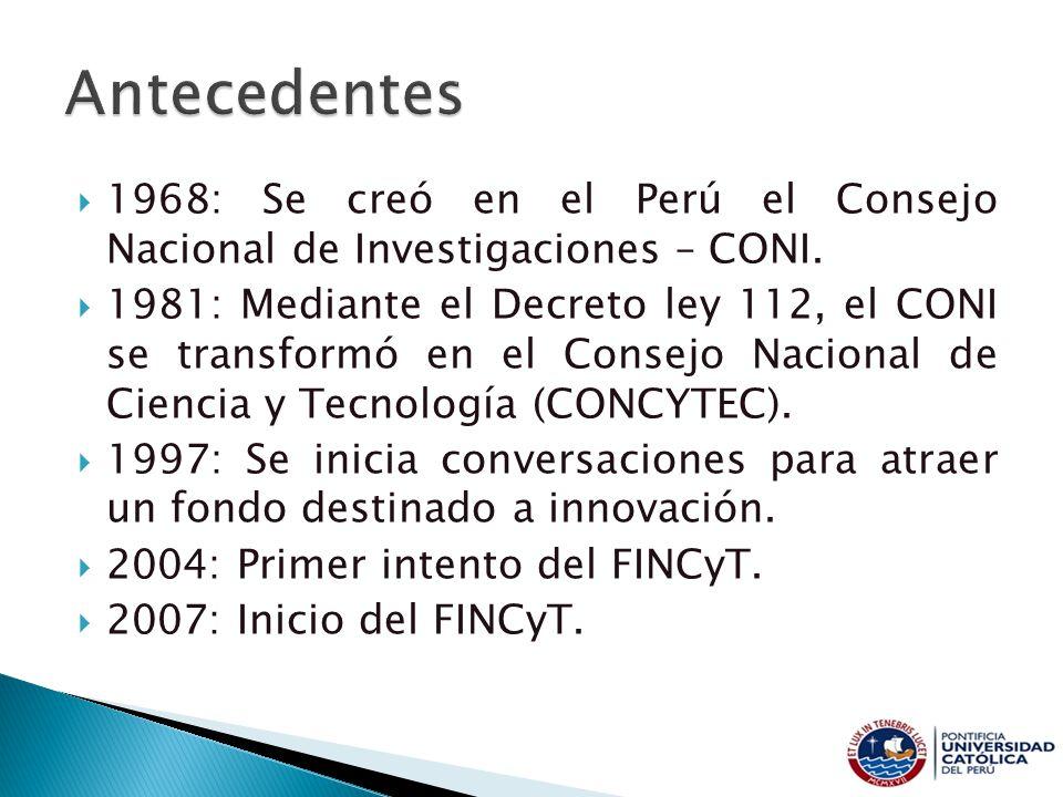 1968: Se creó en el Perú el Consejo Nacional de Investigaciones – CONI. 1981: Mediante el Decreto ley 112, el CONI se transformó en el Consejo Naciona