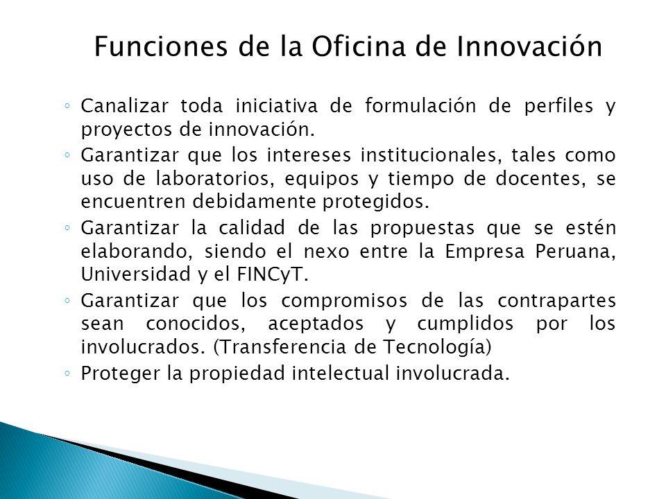 Canalizar toda iniciativa de formulación de perfiles y proyectos de innovación. Garantizar que los intereses institucionales, tales como uso de labora
