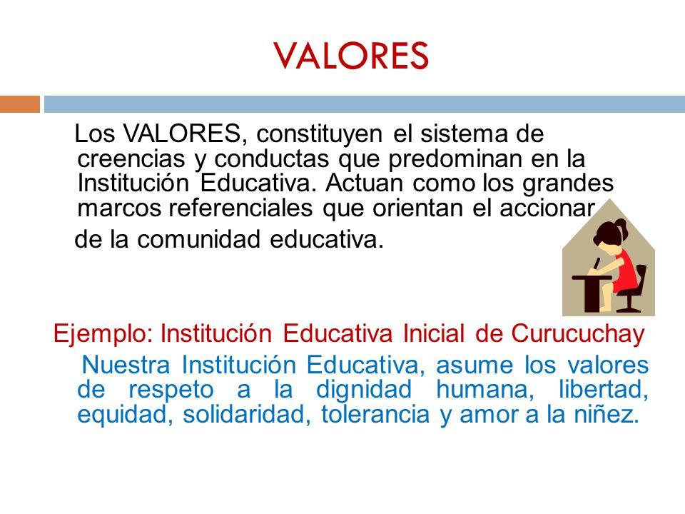 VALORES Los VALORES, constituyen el sistema de creencias y conductas que predominan en la Institución Educativa. Actuan como los grandes marcos refere