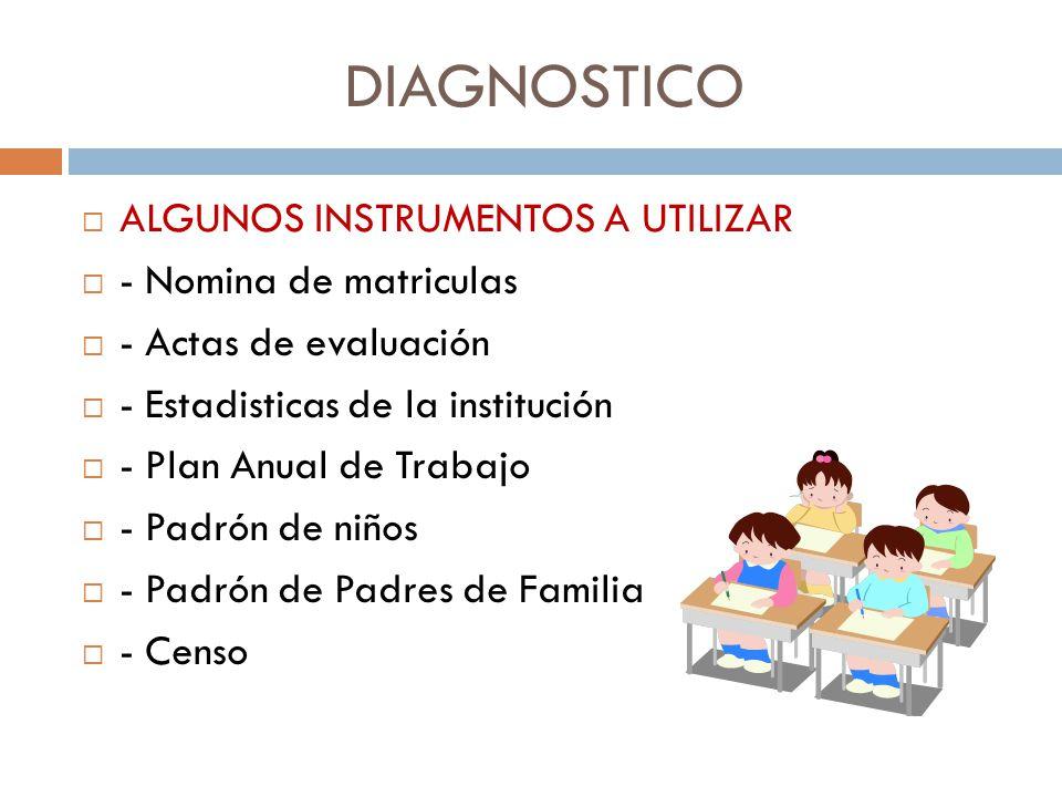 DIAGNOSTICO ALGUNOS INSTRUMENTOS A UTILIZAR - Nomina de matriculas - Actas de evaluación - Estadisticas de la institución - Plan Anual de Trabajo - Pa