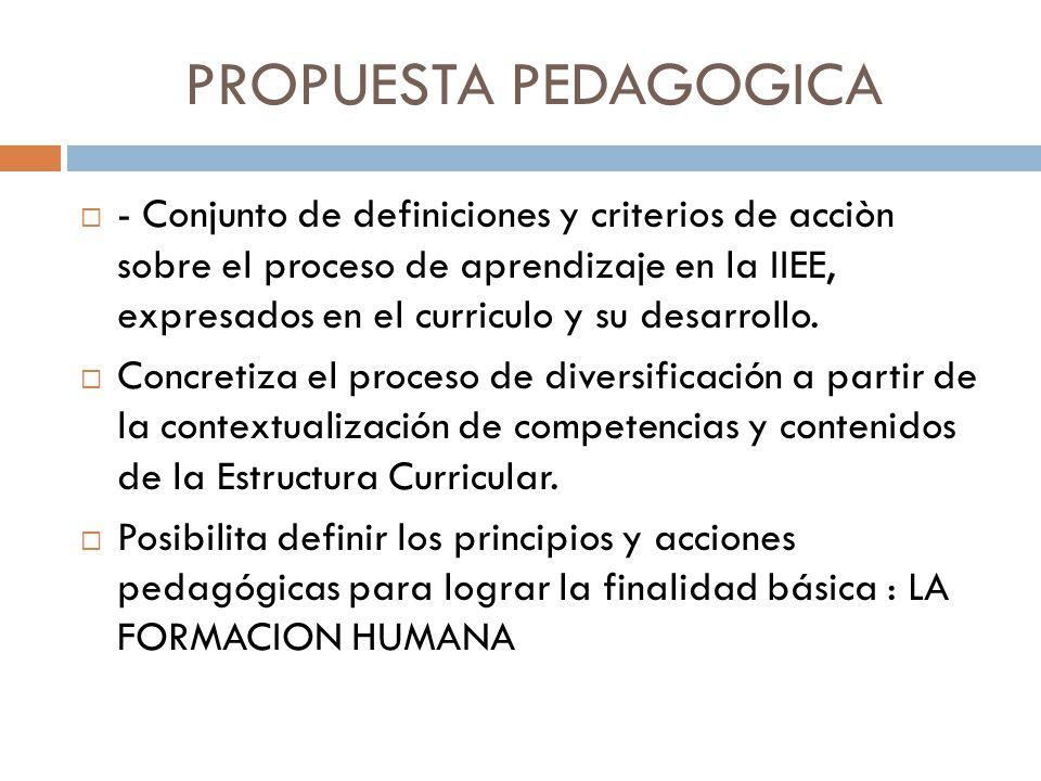 PROPUESTA PEDAGOGICA - Conjunto de definiciones y criterios de acciòn sobre el proceso de aprendizaje en la IIEE, expresados en el curriculo y su desa