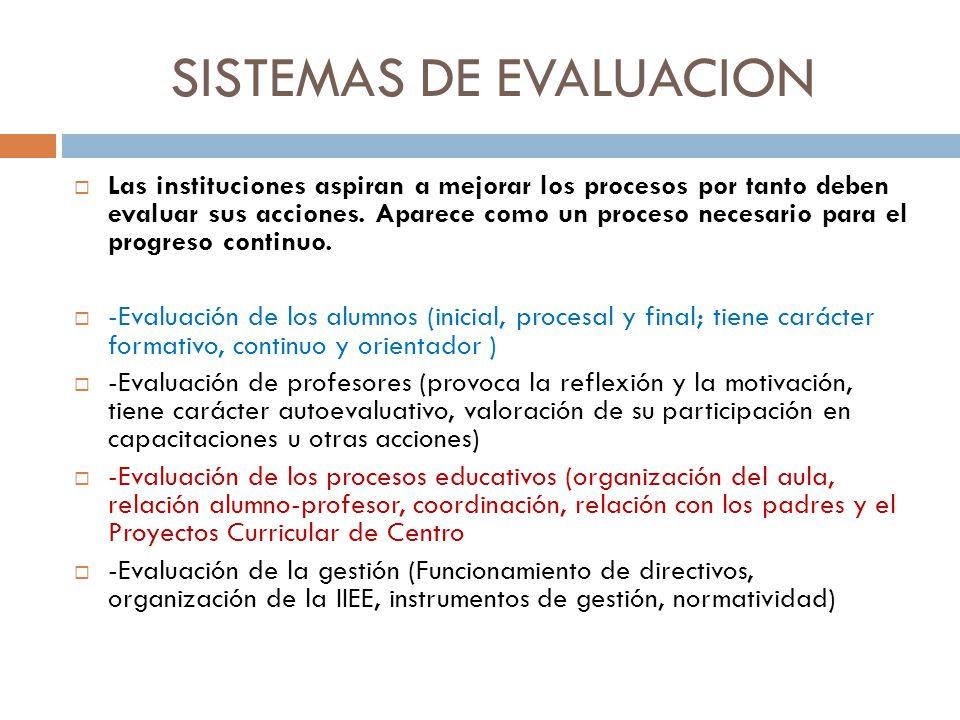 SISTEMAS DE EVALUACION Las instituciones aspiran a mejorar los procesos por tanto deben evaluar sus acciones. Aparece como un proceso necesario para e