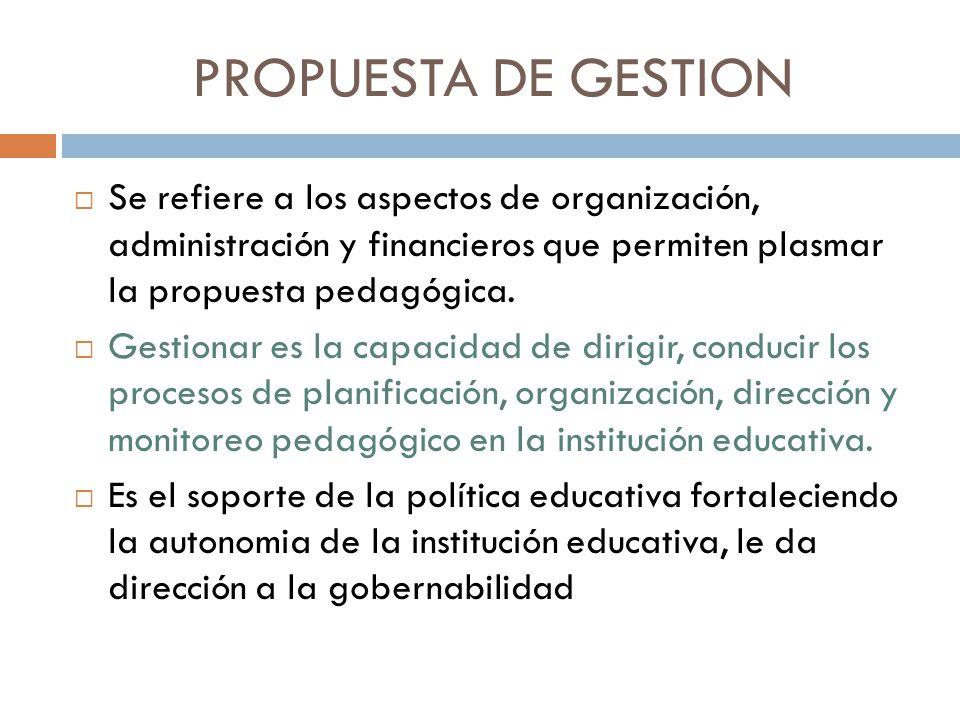PROPUESTA DE GESTION Se refiere a los aspectos de organización, administración y financieros que permiten plasmar la propuesta pedagógica. Gestionar e