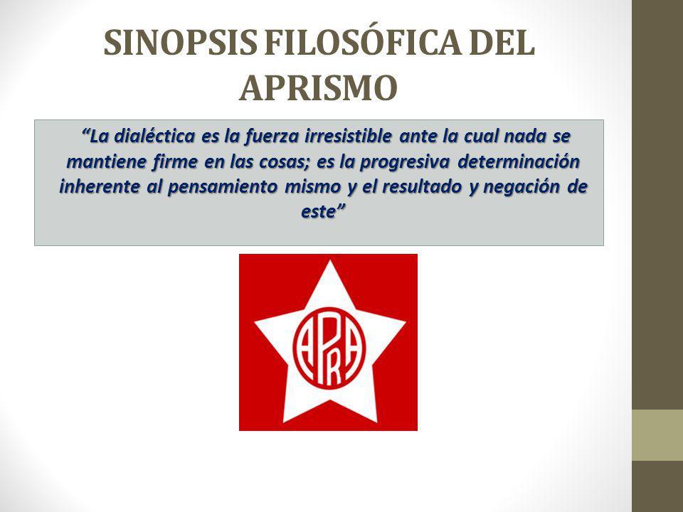 SINOPSIS FILOSÓFICA DEL APRISMO La dialéctica es la fuerza irresistible ante la cual nada se mantiene firme en las cosas; es la progresiva determinaci