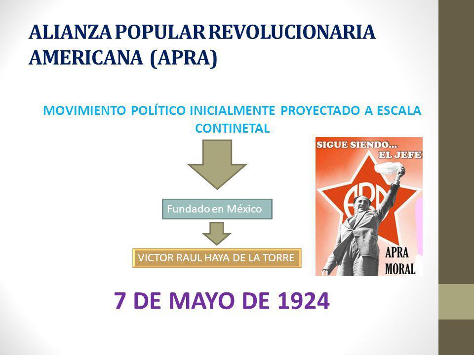 ALIANZA POPULAR REVOLUCIONARIA AMERICANA (APRA) MOVIMIENTO POLÍTICO INICIALMENTE PROYECTADO A ESCALA CONTINETAL Fundado en México VICTOR RAUL HAYA DE LA TORRE 7 DE MAYO DE 1924