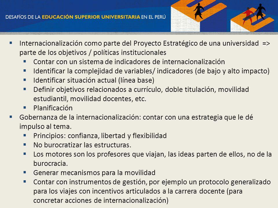 Internacionalización como parte del Proyecto Estratégico de una universidad => parte de los objetivos / políticas institucionales Contar con un sistem