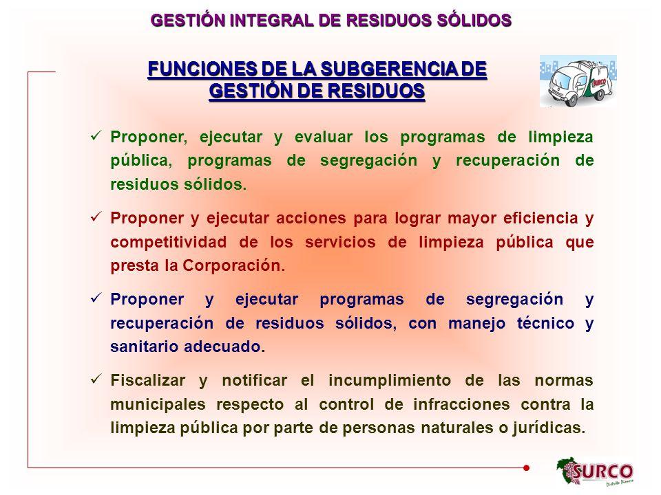 FUNCIONES DE LA SUBGERENCIA DE GESTIÓN DE RESIDUOS GESTIÓN INTEGRAL DE RESIDUOS SÓLIDOS Proponer, ejecutar y evaluar los programas de limpieza pública, programas de segregación y recuperación de residuos sólidos.