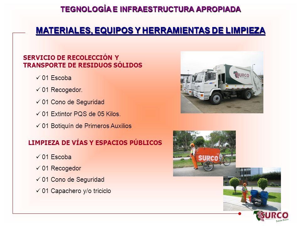 MATERIALES, EQUIPOS Y HERRAMIENTAS DE LIMPIEZA SERVICIO DE RECOLECCIÓN Y TRANSPORTE DE RESIDUOS SÓLIDOS LIMPIEZA DE VÍAS Y ESPACIOS PÚBLICOS 01 Escoba 01 Recogedor.