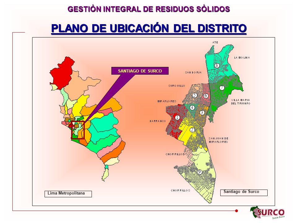 PLANO DE UBICACIÓN DEL DISTRITO 7 8 6 5 3 4 1 2 9 SANTIAGO DE SURCO GESTIÓN INTEGRAL DE RESIDUOS SÓLIDOS Lima Metropolitana Santiago de Surco