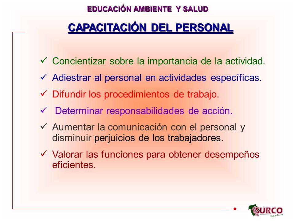 CAPACITACIÓN DEL PERSONAL Concientizar sobre la importancia de la actividad.