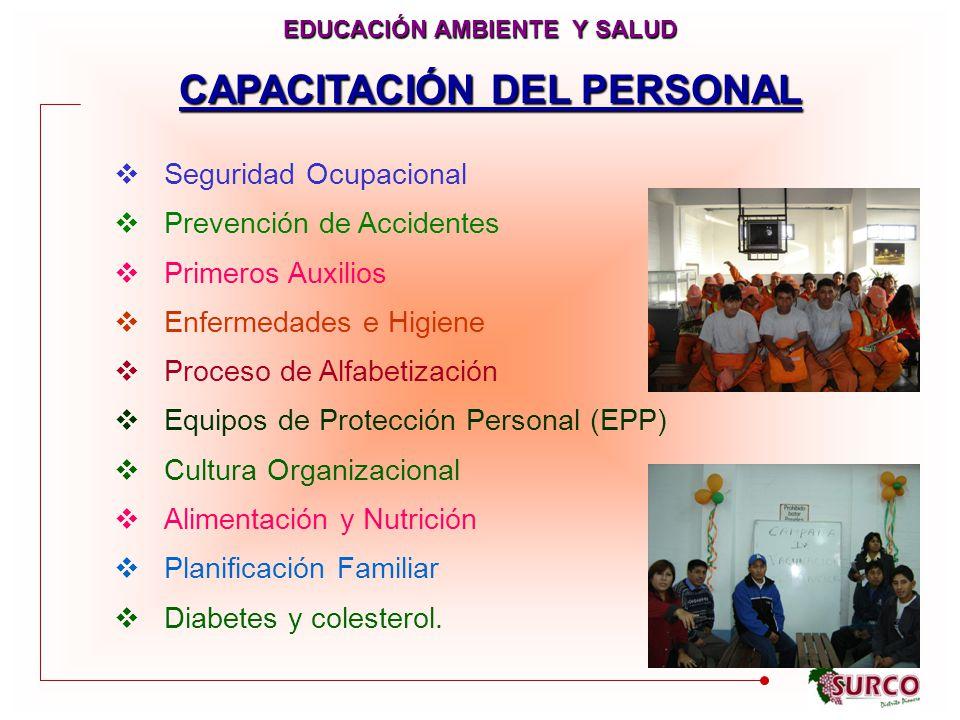 Seguridad Ocupacional Prevención de Accidentes Primeros Auxilios Enfermedades e Higiene Proceso de Alfabetización Equipos de Protección Personal (EPP) Cultura Organizacional Alimentación y Nutrición Planificación Familiar Diabetes y colesterol.