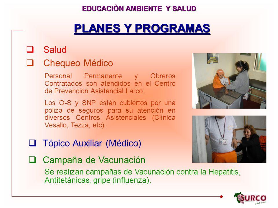 PLANES Y PROGRAMAS Salud Chequeo Médico EDUCACIÓN AMBIENTE Y SALUD Tópico Auxiliar (Médico) Campaña de Vacunación Personal Permanente y Obreros Contratados son atendidos en el Centro de Prevención Asistencial Larco.