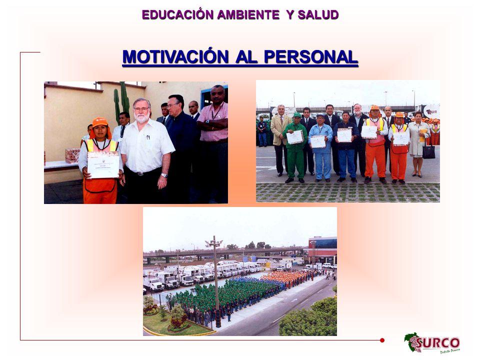 MOTIVACIÓN AL PERSONAL EDUCACIÓN AMBIENTE Y SALUD