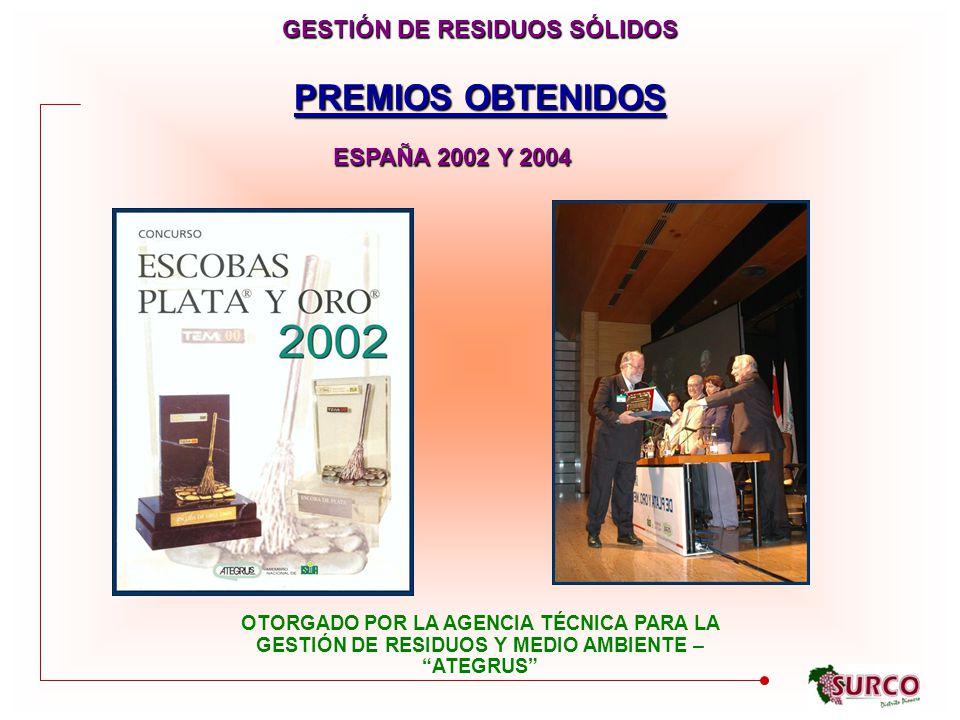 PREMIOS OBTENIDOS GESTIÓN DE RESIDUOS SÓLIDOS ESPAÑA 2002 Y 2004 OTORGADO POR LA AGENCIA TÉCNICA PARA LA GESTIÓN DE RESIDUOS Y MEDIO AMBIENTE – ATEGRUS