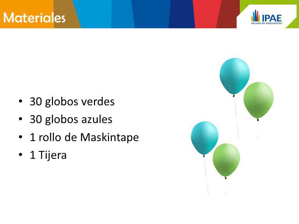 Materiales 30 globos verdes 30 globos azules 1 rollo de Maskintape 1 Tijera