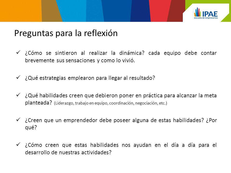Preguntas para la reflexión ¿Cómo se sintieron al realizar la dinámica.