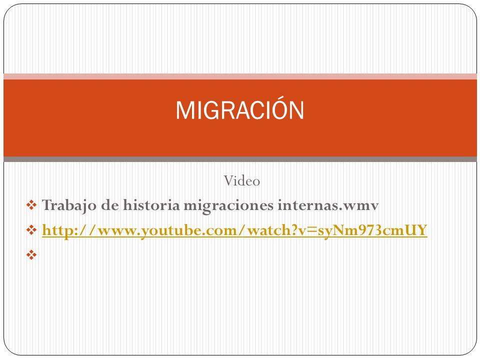 MIGRACIÓN Video Trabajo de historia migraciones internas.wmv http://www.youtube.com/watch?v=syNm973cmUY