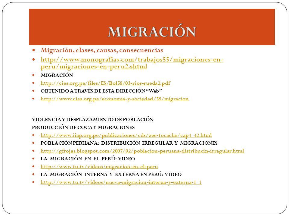Migración, clases, causas, consecuencias http://www.monografias.com/trabajos55/migraciones-en- peru/migraciones-en-peru2.shtml http://www.monografias.