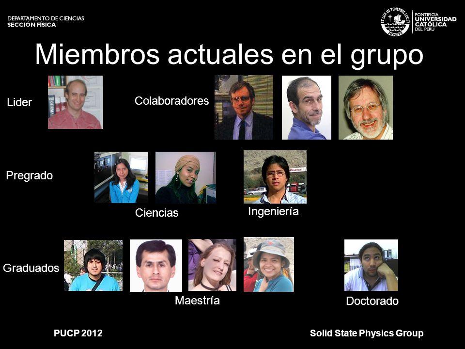 >>0 >>1 >> 2 >> 3 >> 4 >> Miembros actuales en el grupo Lider Doctorado Ingeniería Ciencias Maestría Pregrado Graduados Colaboradores Solid State Physics GroupPUCP 2012