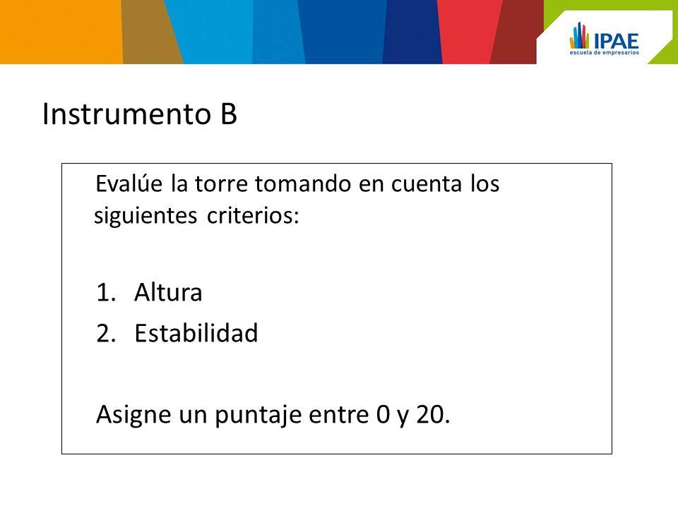 Instrumento B Evalúe la torre tomando en cuenta los siguientes criterios: 1.Altura 2.Estabilidad Asigne un puntaje entre 0 y 20.