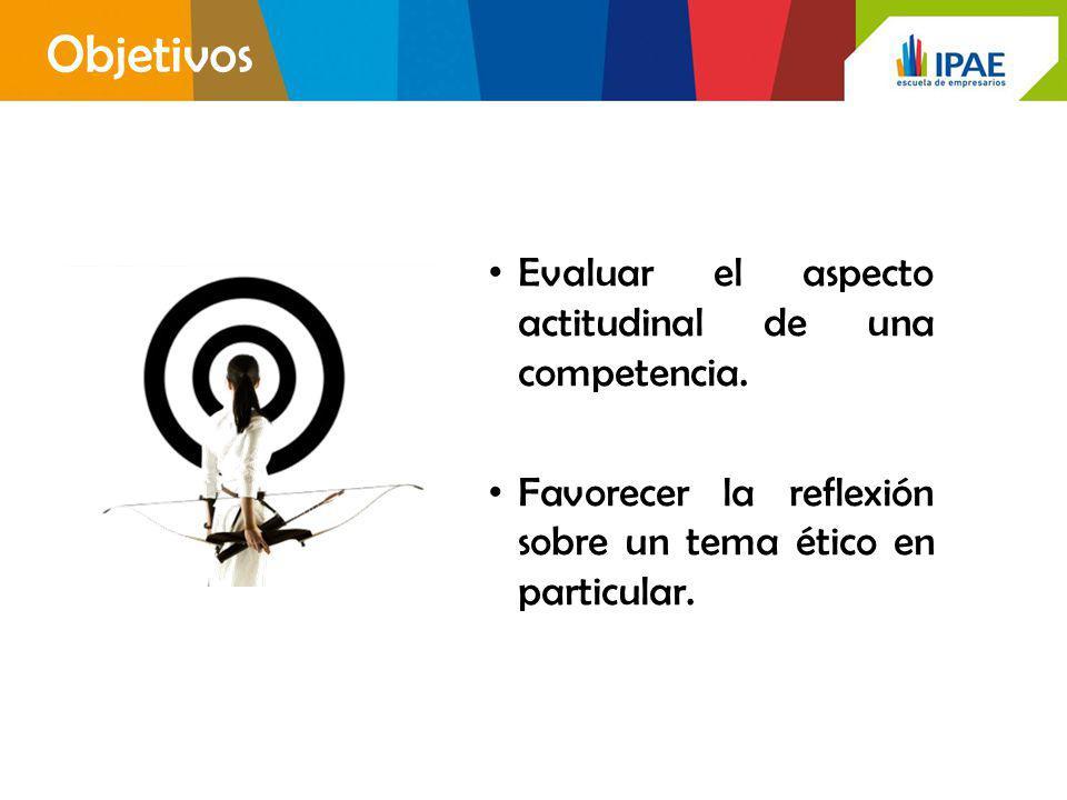 Objetivos Evaluar el aspecto actitudinal de una competencia. Favorecer la reflexión sobre un tema ético en particular.