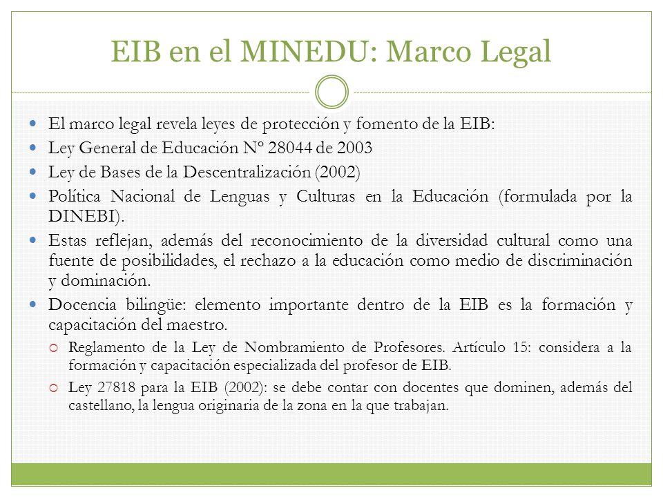El marco legal revela leyes de protección y fomento de la EIB: Ley General de Educación Nº 28044 de 2003 Ley de Bases de la Descentralización (2002) P