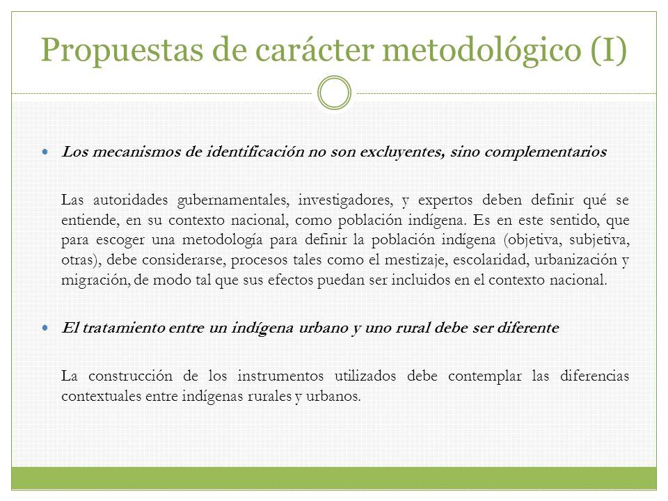 Propuestas de carácter metodológico (I) Los mecanismos de identificación no son excluyentes, sino complementarios Las autoridades gubernamentales, inv