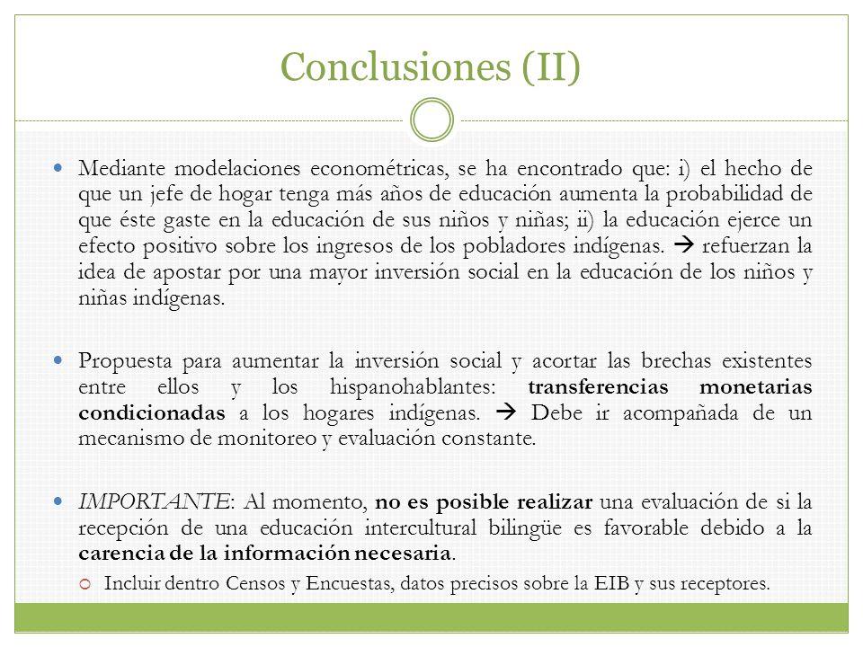 Conclusiones (II) Mediante modelaciones econométricas, se ha encontrado que: i) el hecho de que un jefe de hogar tenga más años de educación aumenta l