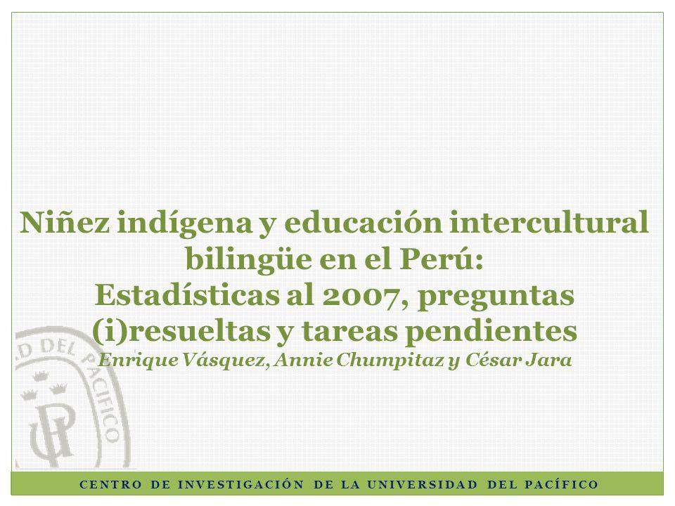 Demanda y cobertura educativa (I) En el Perú, existe un total de 7,563,858 niños y adolescentes en edad escolar; de ellos, 1,084,472 son indígenas (medido a partir de la lengua materna): 916,769 son quechuas 89,357 aymaras, y 78,346 de lenguas nativas.