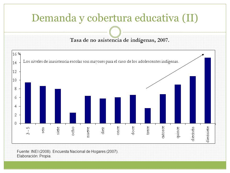 Tasa de no asistencia de indígenas, 2007. Los niveles de inasistencia escolar son mayores para el caso de los adolescentes indígenas. Fuente: INEI (20