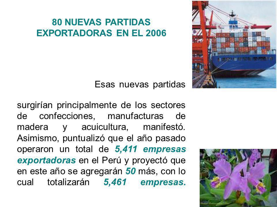 80 NUEVAS PARTIDAS EXPORTADORAS EN EL 2006 La Comisión para la Promoción de Exportaciones - Prompex, estimó que el Perú ofrecerá 80 nuevas partidas de exportación al mundo y que unas 50 empresas empezarán a exportar desde este año.