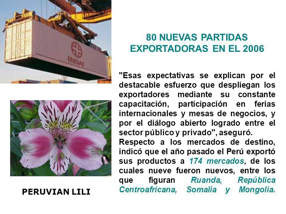 80 NUEVAS PARTIDAS EXPORTADORAS EN EL 2006 Esas nuevas partidas surgirían principalmente de los sectores de confecciones, manufacturas de madera y acuicultura, manifestó.
