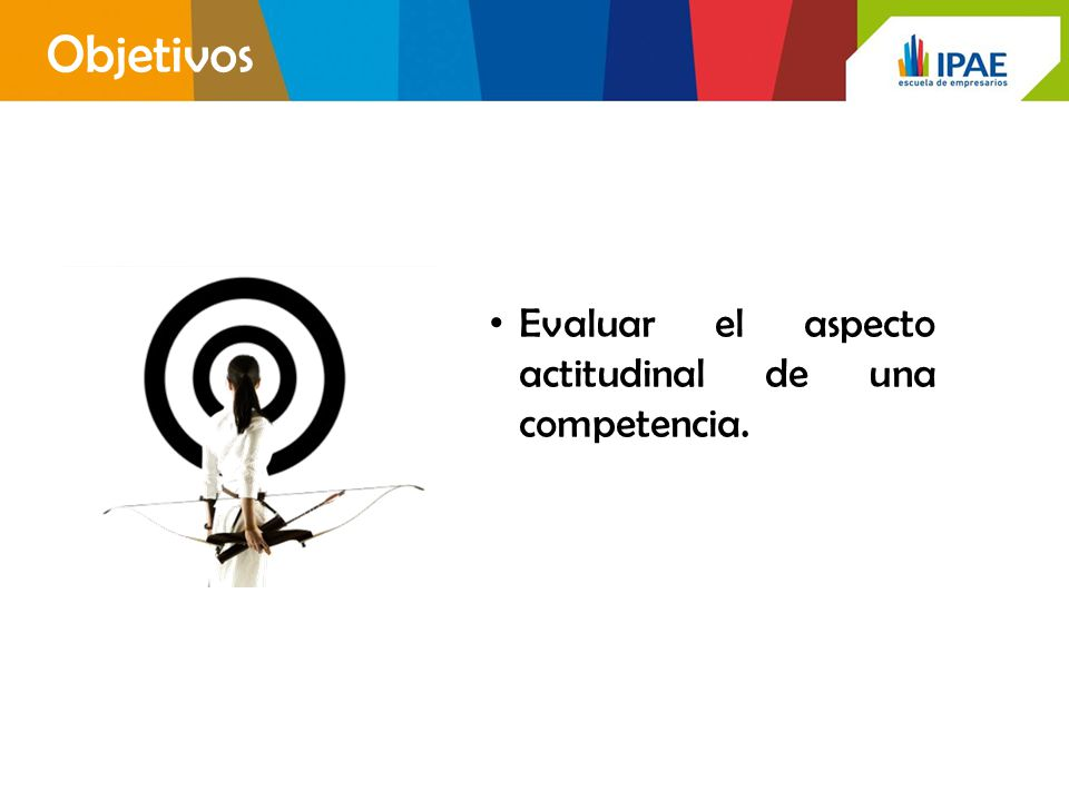 Objetivos Evaluar el aspecto actitudinal de una competencia.