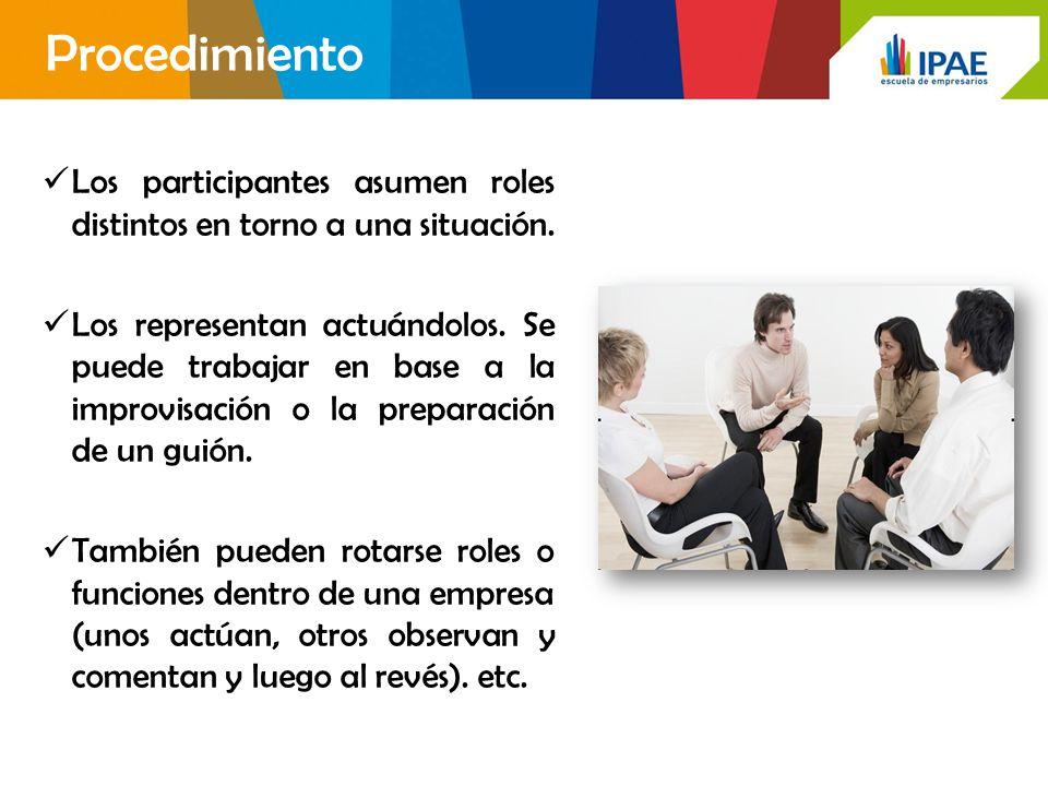 Procedimiento Los participantes asumen roles distintos en torno a una situación.