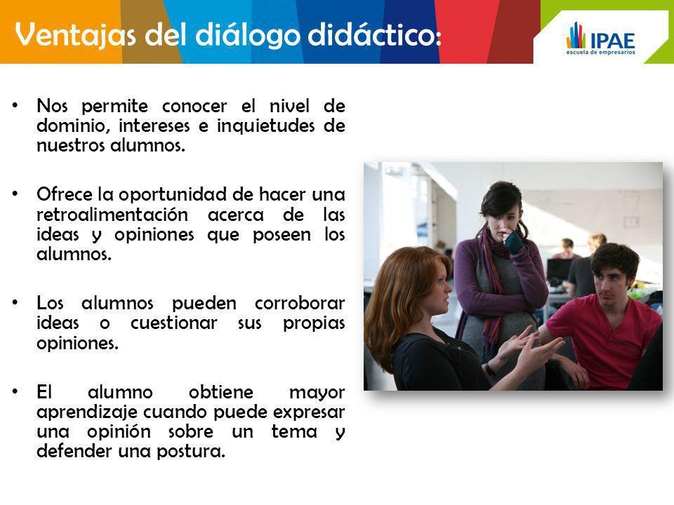 Ventajas del diálogo didáctico: Nos permite conocer el nivel de dominio, intereses e inquietudes de nuestros alumnos. Ofrece la oportunidad de hacer u