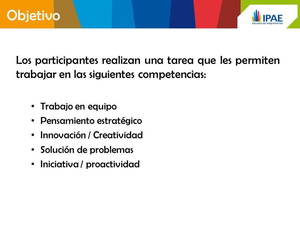 Objetivo Los participantes realizan una tarea que les permiten trabajar en las siguientes competencias: Trabajo en equipo Pensamiento estratégico Innovación / Creatividad Solución de problemas Iniciativa / proactividad