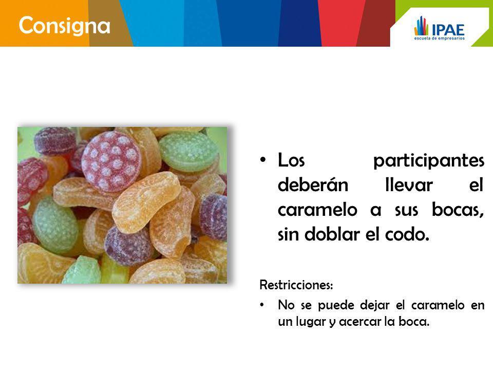 Consigna Los participantes deberán llevar el caramelo a sus bocas, sin doblar el codo. Restricciones: No se puede dejar el caramelo en un lugar y acer