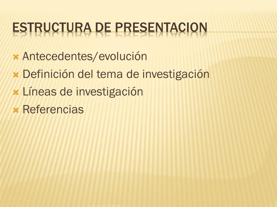 Antecedentes/evolución Definición del tema de investigación Líneas de investigación Referencias