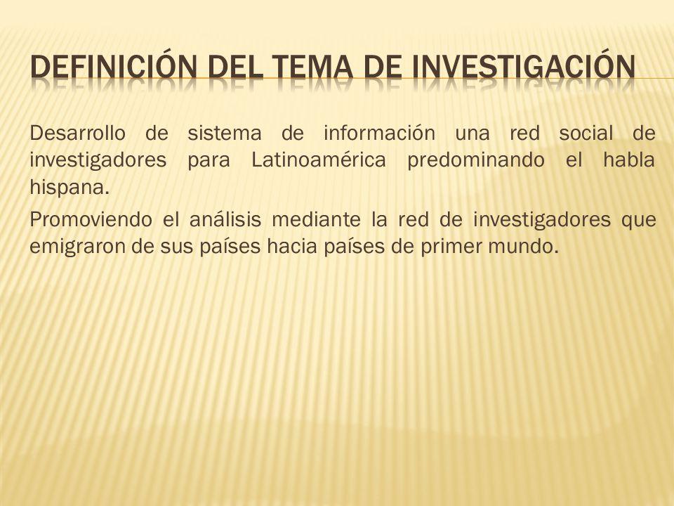 Desarrollo de sistema de información una red social de investigadores para Latinoamérica predominando el habla hispana. Promoviendo el análisis median