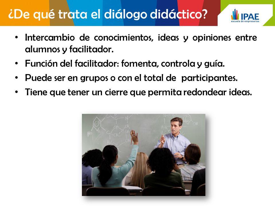 ¿De qué trata el diálogo didáctico? Intercambio de conocimientos, ideas y opiniones entre alumnos y facilitador. Función del facilitador: fomenta, con